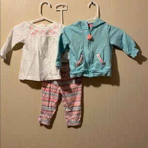 girls 6 month 3 piece set hoodie, leggings & top